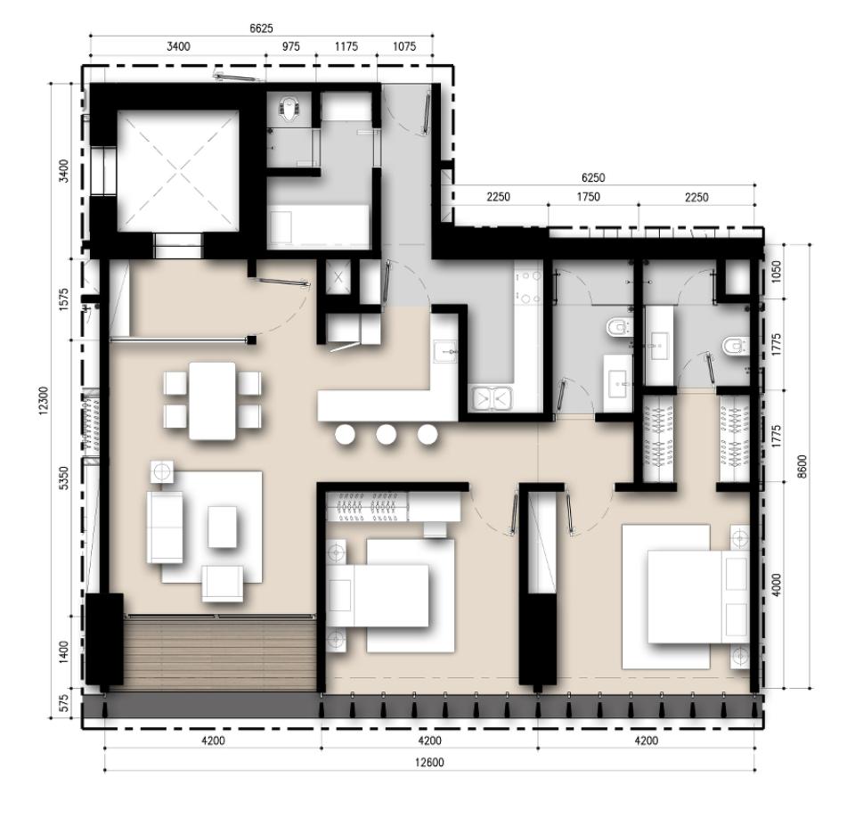 Saumata unit Plan 2 BR A