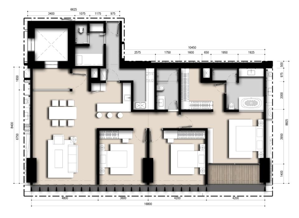 Saumata unit Plan 3 BR A